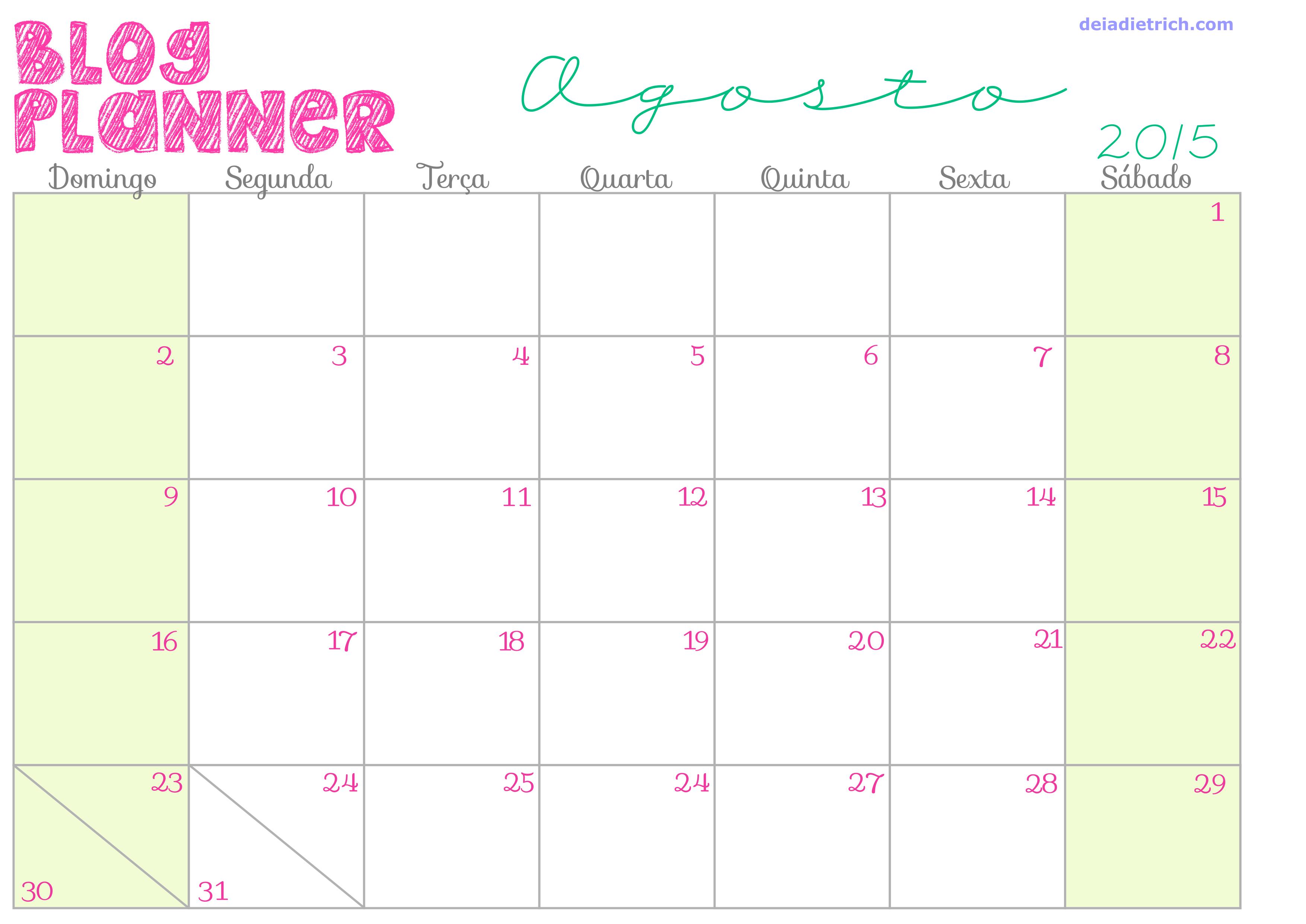 Blog Planner Calendar Printable Free deiadietrich
