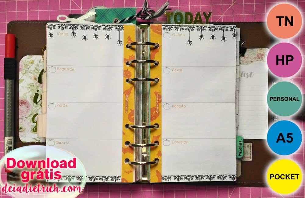 Download – Planner semanal Halloween – A5, Personal, Pocket, TN, HP