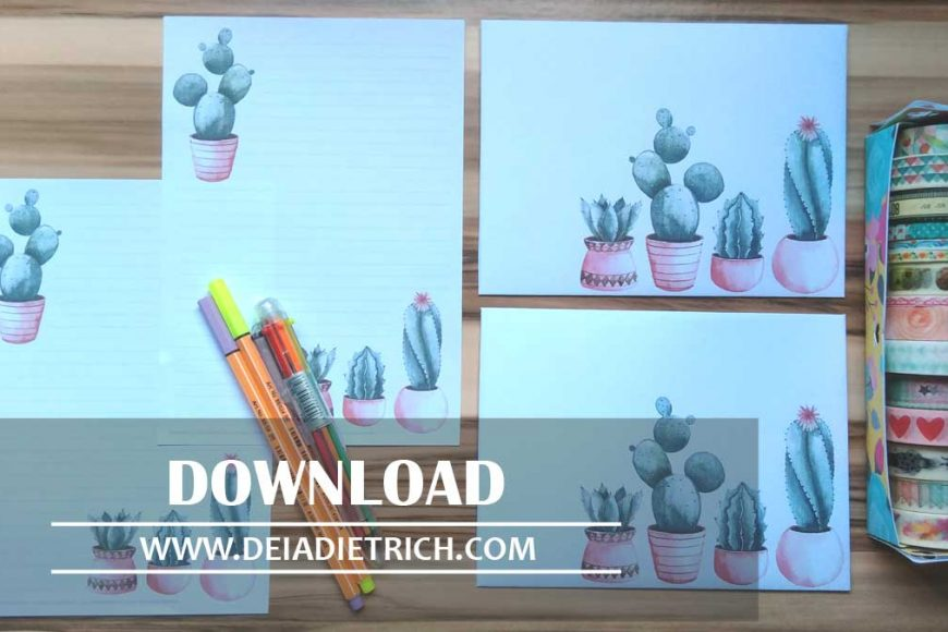 Download – envelope e papel de carta – cactos