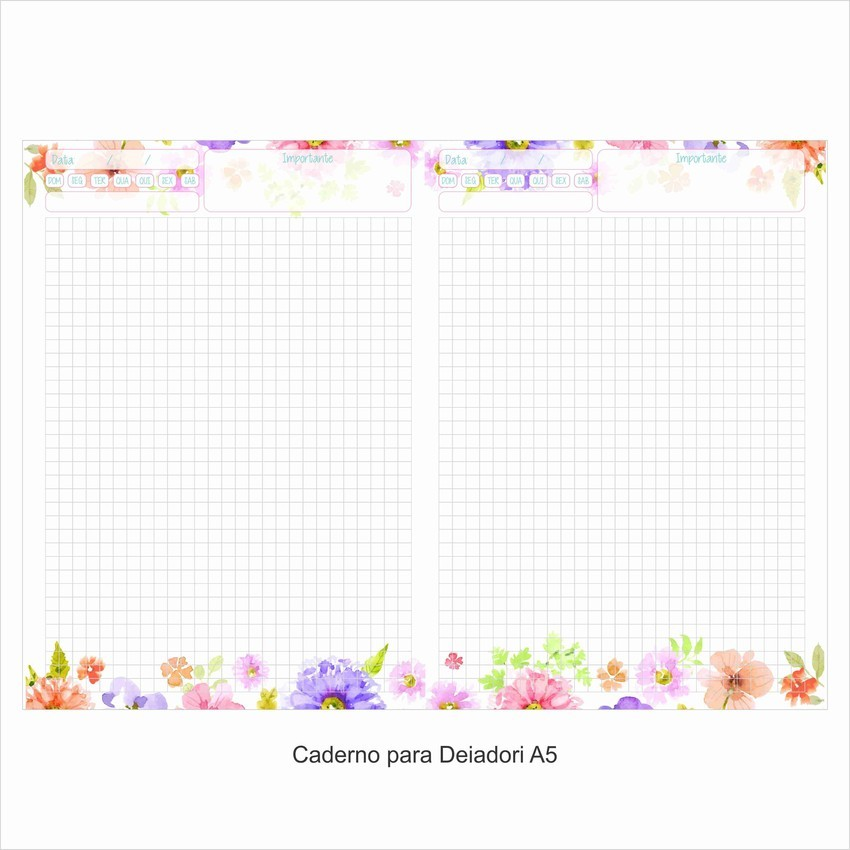Caderno Bullet Journal Floral Quadriculado Deia Dietrich